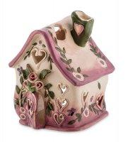 Bs-185 подсвечник розовый домик