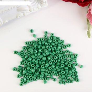Бисер круглый 6/0 зелёный 20 гр