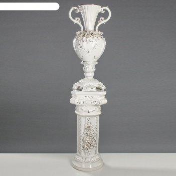 Ваза напольная  валенсия на колонне, белая лепка