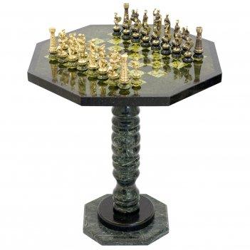 Шахматный стол фигуры римские на подставках бронза змеевик