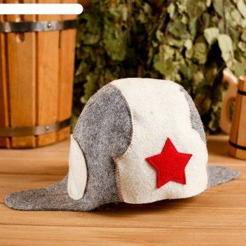 Колпак для бани  шапка колпак для бани  шапка танкиста, войлок, комбиниров