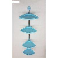 Угловая полка, 4 полки, размеры 21 х 21 х 96 см, цвет голубой