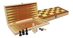 Шахматы, нарды, шашки деревянные 3 в 1 (поле 34 см) фигуры из пластика