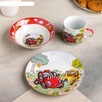 Набор детской посуды 3 предмета такси кружка 220 мл, миска 400 мл, тарелка