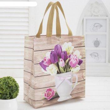 Сумка хоз тюльпаны, 27*12*29, отд без молнии, бежевый