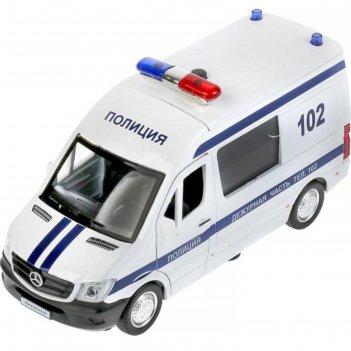 Машина металлическая «mercedes-benz sprinter полиция» 14 см, инерция, свет
