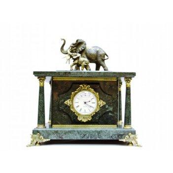 Часы-сейф из мрамора слоны