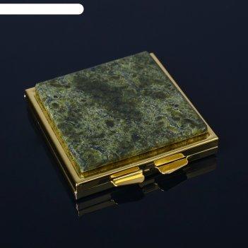 Зеркало каменный блик, 6х6,7х1,2 см, змеевик