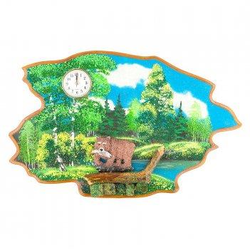 Часы с картиной медведь с рыбой лето 50х32 см