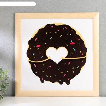 Постер дерево шоколадный пончик 35х35 см, ясень