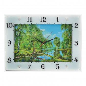 Часы настенные прямоугольные природа, 32х42 см