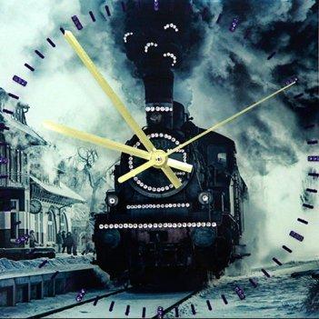 Картина сваровски - часы паровоз
