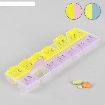 Таблетница-органайзер «неделька», английские буквы, день/ночь, 14 секций,