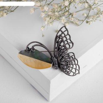 Брошь перламутр бабочка, цвет серо-коричневый в чернёном серебре