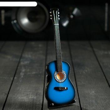 Гитара сувенирная акустическая синяя, на подставке 24х8х2 см