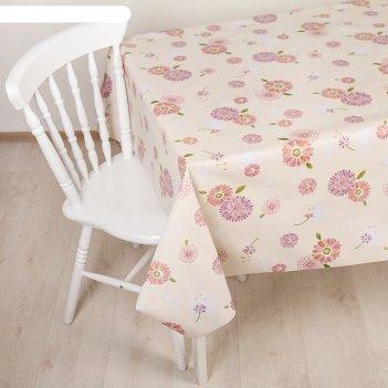 Клеенка столовая на нетканой основе, ширина 137 см розовые цветы, рулон 20