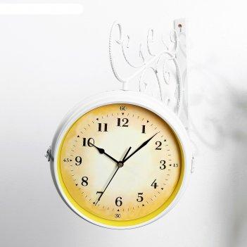 Часы настенные двойные, серия: садовые, ксатива, белые, 38х9х43 см