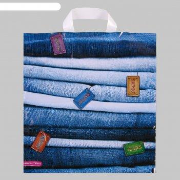 Пакет джинсовая коллекция, полиэтиленовый с петлевой ручкой, 38x40 см, 40