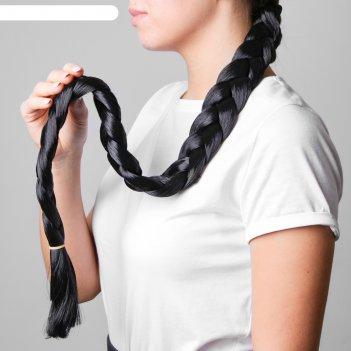 Коса на резинке 80 см, цвет чёрный