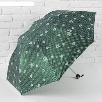 Зонт механический ветроустойчивый цветочки с горошком, цвет зеленый