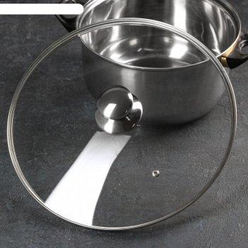 Крышка стеклянная с металлическим ободком, d=32 см, с круглой ручкой