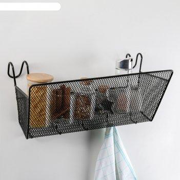 Полка подвесная лофт 35х17х22 см, 5 крючков, цвет черный