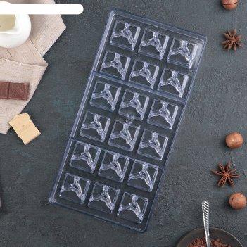 Форма для шоколада 18 ячеек рубин 33x16,2x2,6 см