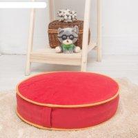 Подушка на стул круглая 43х43 см, высота 10см, красный/желтый, велюр, поро