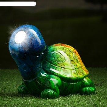 Садовый светильник черепаха на солнечной батарее, 13 см