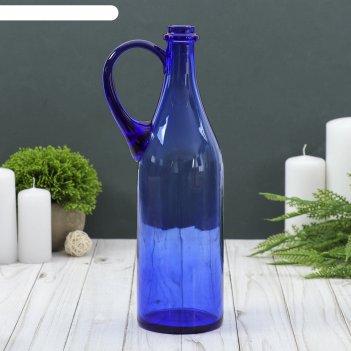 Ваза-бутыль литр с ручкой, синяя