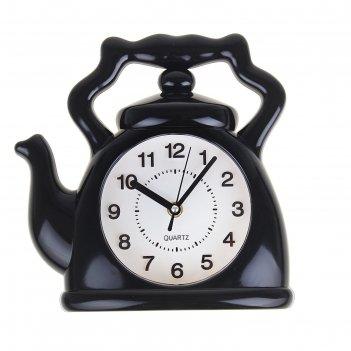 Часы настенные кухонные чайник, черные 24х24х4 см