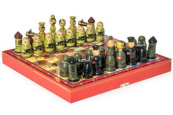 Шахматы великая отечественная матрешки 30х30см ручная роспись