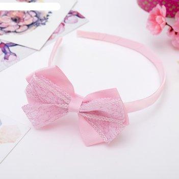 Ободок для волос умница двойной бант блеск, розовый