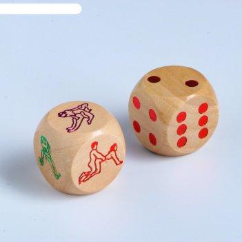Кубики игральные позы 2.9 x 2.9 см, набор 2 шт., дерево