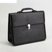 Сумка-портфель мужская на замке кантри, 2 отдела, цвет чёрный