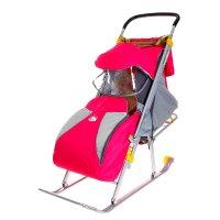 Санки-коляска ника детям 4 цвет: розовый нд4