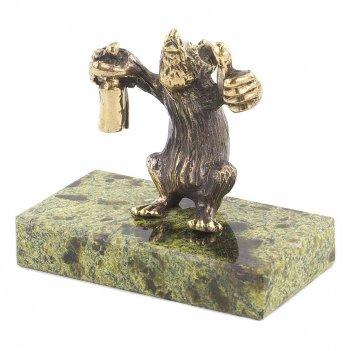 Статуэтка крыса алкоголик змеевик бронза 50х25х45х мм 65 гр.