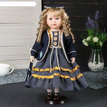 Кукла коллекционная керамика алиса в синем платье с бантиком на голове 40