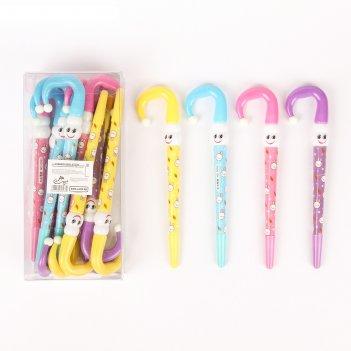 Ручка шариковая-прикол, «зонтик-смайлик», микс