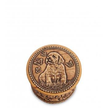 Bst-128/ 1 шкатулка щенок мал. (береста)
