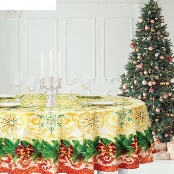Скатерть  этель новогоднее волшебство d=160 см, хлопок 100%