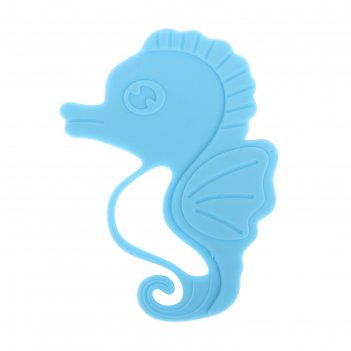 Прорезыватель силиконовый «морской конёк», цвет голубой