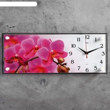 Часы-картина настенные, серия: цветы, ветка розовых орхидей, 50х20 см