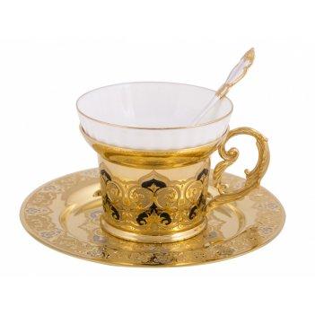 Набор чайный яблочко (тарель, чашка, ложка) златоуст