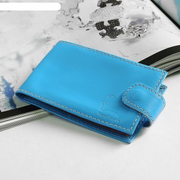 Визитница, 1 ряд, 18карт, с хлястиком, анилин, цвет голубой