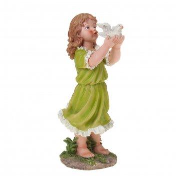 Фигура садовая девочка и голубь