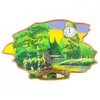 Часы с картиной филин лето 50х32 см