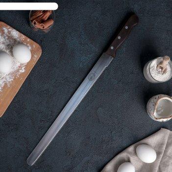 Нож для бисквита мелкие зубцы ручка дерево рабочая поверхность 35 см