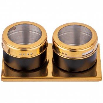 Набор для специй agness 3 пр.черное золото на магнитах+метал.подставка 14*