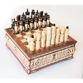 Шахматы резные ручной работы в ларце 26х26см